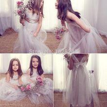 2015 Anna Campbell vestidos para niñas de encaje de tul palabra de longitud sin respaldo muchachas lindas del vestido Formal dama de honor Junior vestidos(China (Mainland))