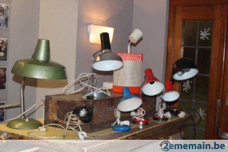 Lot de 8 lampes de bureau-chevet, rétro et vintage en métal - A vendre