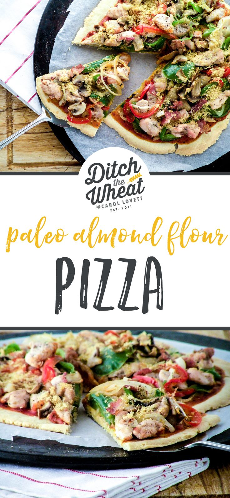A delicious thin crust that holds all of the toppings! This crispy paleo pizza dough is a must-make recipe for anyone looking to @Ditchthewheat!