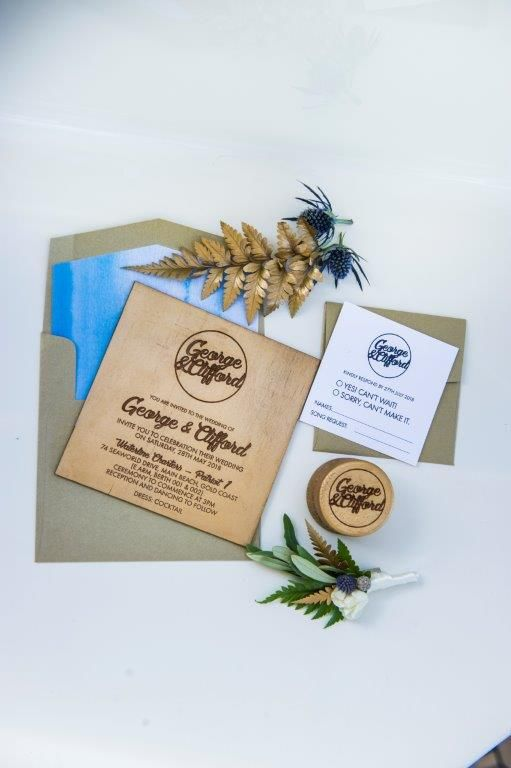 Luxury Yacht Wedding + Wedding Stationery + Wood Textures + Blue + Love is Love + Real Couple