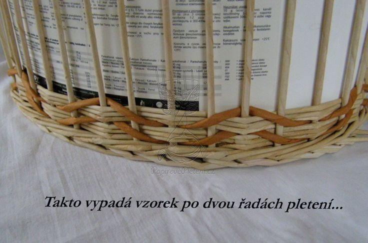 Vlnková vazba na sudý počet osnovních ruliček - Papírové pletení