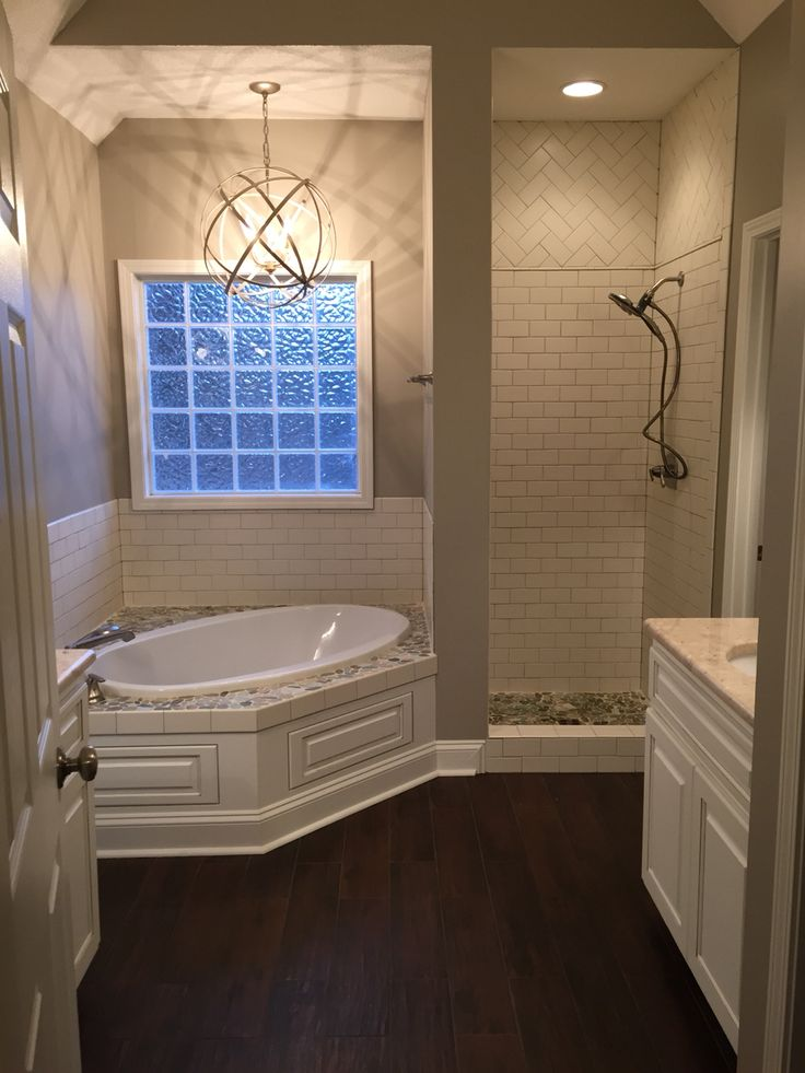 Amazing Corner Tub Ideas Part - 1: My Master Bath, Shower Door Not Yet Installed. Tub Surround And Shower  Floor With