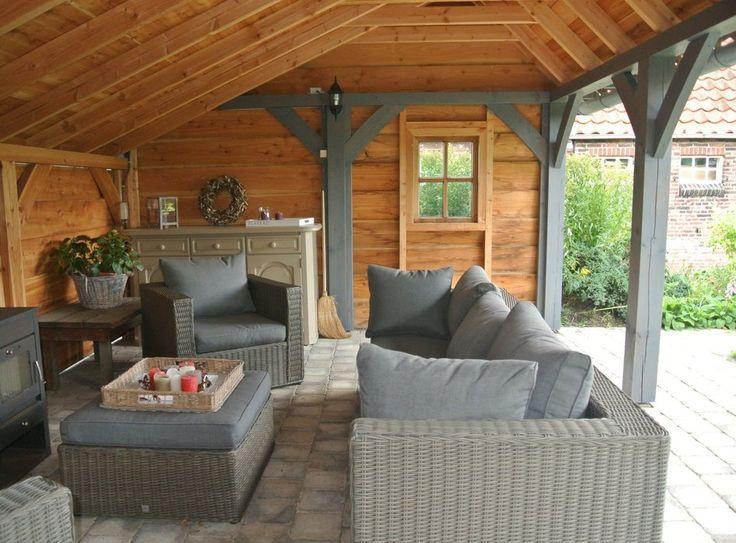 Kapschuur overkapping landelijke bouwstijl tuin pinterest - Bank terras hout ...