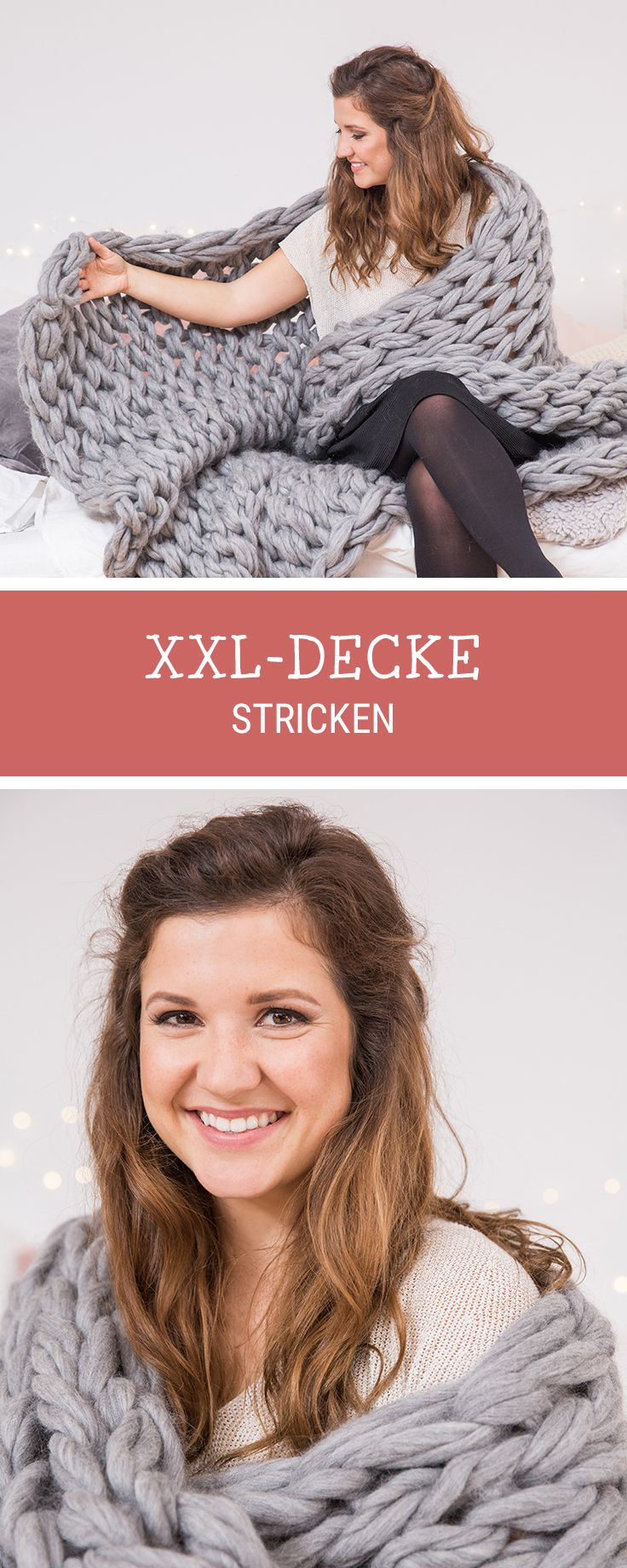 DIY-Inspiration für Stricker - XXL Decke mit den Armen #stricken, #DIY zusammen mit unserem Partner #langyarns / #knitting inspiration: how to knit an oversized blanket with your arms and chunky yarn via DaWanda.com // #dawandaandfriends