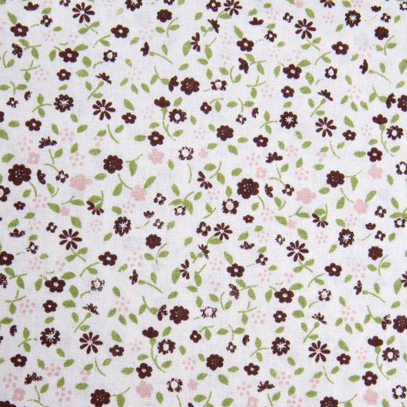 Bavlněná látka Hnědo-růžové kvítky