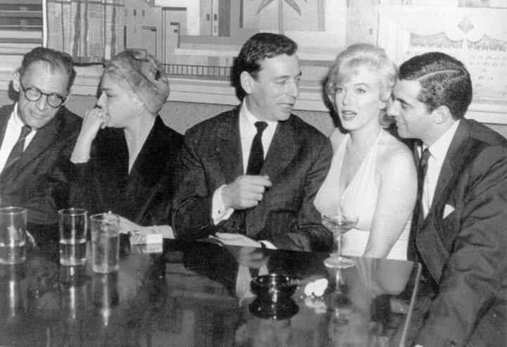 Arthur Miller, Simone Signoret, Yves Montand, Marilyn