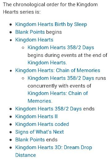 Chronological order for kingdom hearts