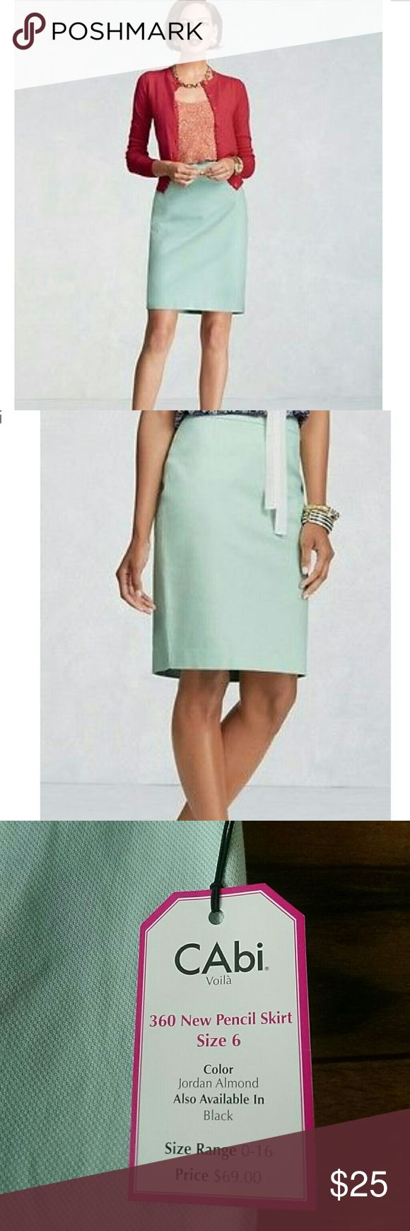 """NWT Cabi Pencil Skirt Brand new wirh tags pencil skirt in """"jordan almond"""" color! 98% cotton 2% spandex CAbi Skirts"""