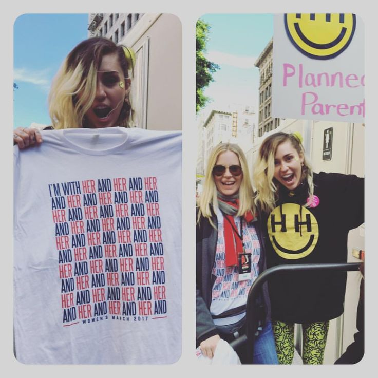 """Kristin Bauer on Instagram: """"@mileycyrus ROCKS & was darn lovely today at the #womensmarch - thanks for supporting my tshirt for rights! #happyhippiefdn @plannedparenthood @action4ifaw @aclu_nationwide @hrclosangeles @oceana @centerforbiodiv @350org @animallegaldefensefund @sierraclub @committeetoprotectjournalists"""""""