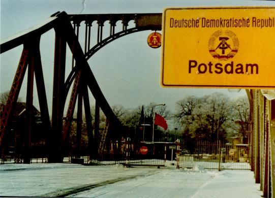 Berlin Wall, Glienicker Brücke 1961 the bridge in Glienicke is being walled up. (c) Heiko Burkhardt, dailysoft.com. Place of spy exchange during the Cold War and separation line between Berlin and Potsdam.