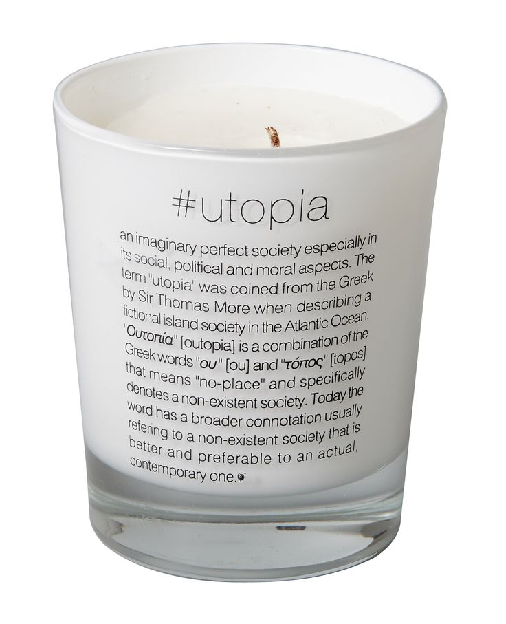 Scented candle #utopia. Dimension: d8x9cm. Material: paraffin.