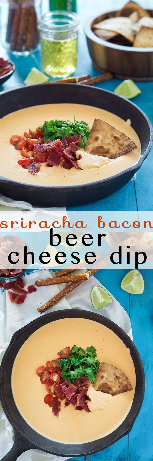 Sriracha Bacon Beer Cheese Dip is an irresistible, 4 ingredient appetizer that is creamy, cheesy, loaded with flavorful toppings and only takes only 15 minutes to make! It will be the hit at any party!