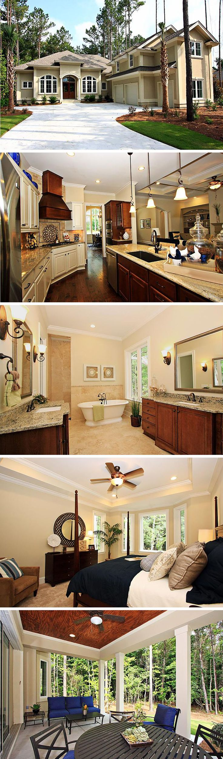 The Kathryn by David Weekley Homes in Bluffton is a 3 bedroom 3 bathroom home that features an open floorplan, a private covered porch, a three car garage and a large owners retreat and bathroom. The home features elegant hardwood and carpeting in bedrooms, as well as a large backyard area.