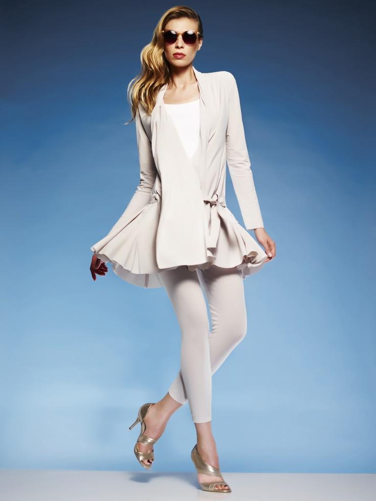 Paula Ryan Long Sleeve Detachable Belt jacket, Slim Fit cami and Capri Legging