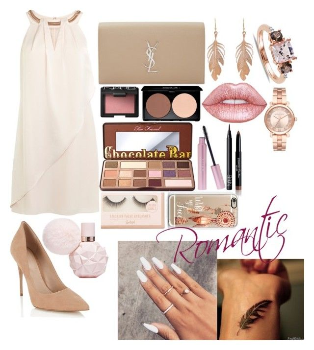 """""""Romantic nude"""" by emmatob on Polyvore featuring Lipsy, Yves Saint Laurent, Reeds Jewelers, Annette Ferdinandsen, NARS Cosmetics, Michael Kors, Lime Crime, Too Faced Cosmetics, Henri Bendel and Givenchy"""