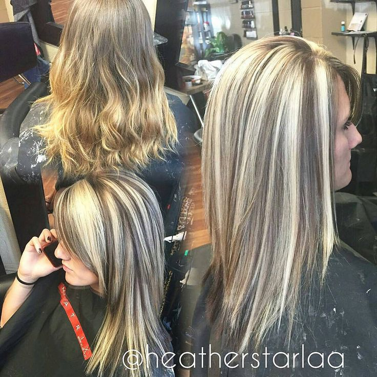 heavy blonde highlight with a dark brown lowlight and
