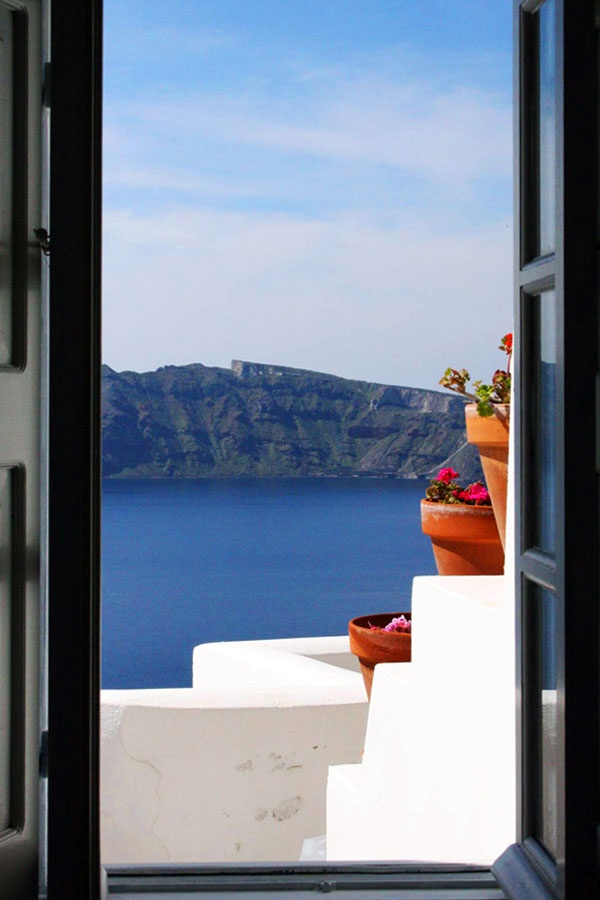 Window with a view in Santorini!!! I could get used to that!!! :)