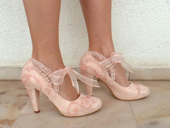 """Wedding Shoes - Bridal Shoes Embroidered Blush Lace with Pearls and Ribbons, 4""""Heels"""