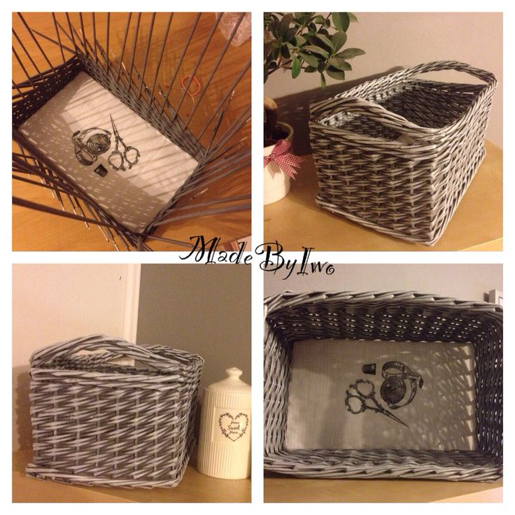 Grey with white - paper basket