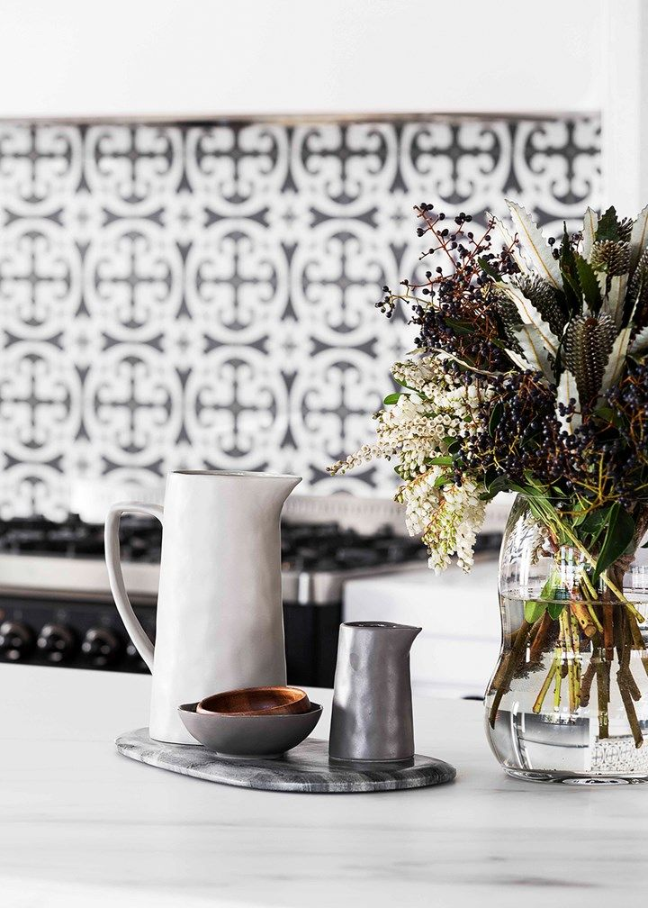 Black and white Shaker style kitchen with marble benchtops | Home Beautiful Magazine Australia