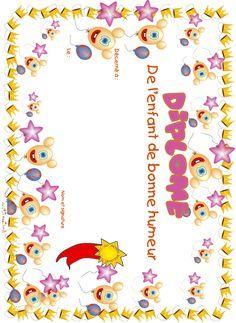 diplome enfant bonne humeur ballons et étoiles