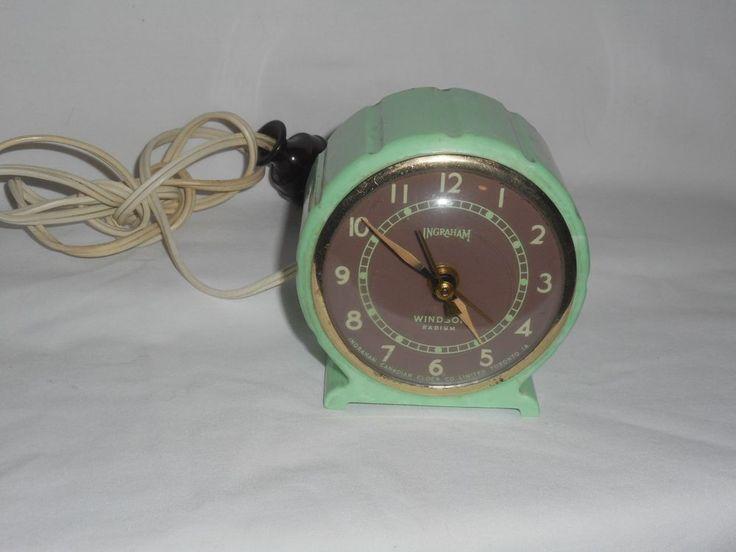 Ingraham Windsor Radium Art Deco Electric Clock Minty Green Early Plastic Case #Ingraham