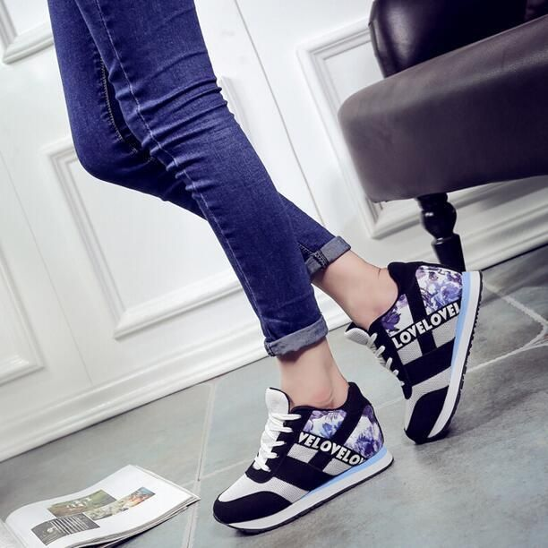 Womens Mixed Color Wedge Hidden Heels Lace Up Shoes Sneakers Fashion Sports K598