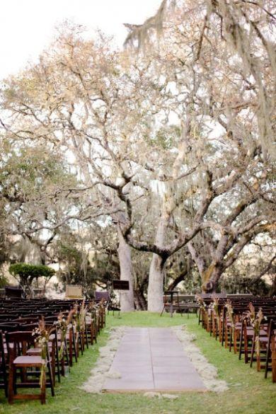 outdoor wedding ceremony under white tree