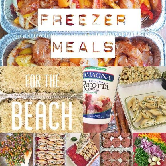 Freezer meals for the beach! Because who wants to cook on vacation?! // Turkey Burgers, marinated pork tenderloin, stuffed shells and oven baked chicken fajitas.
