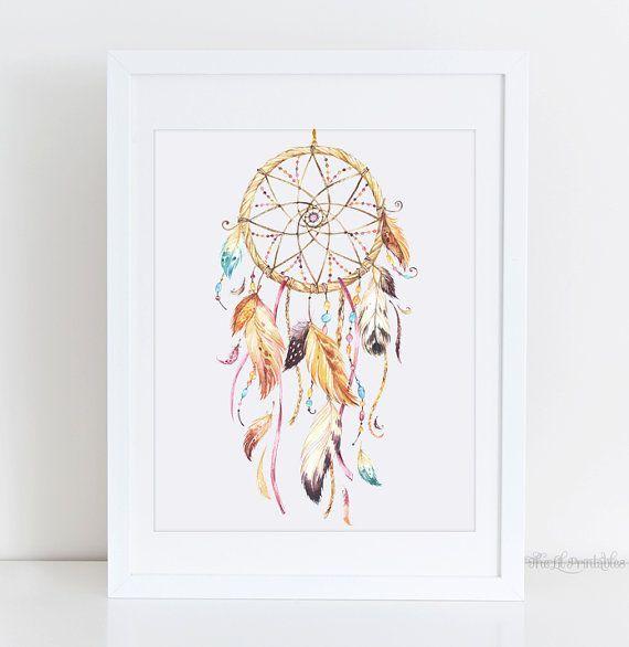 Watercolor Dream Catcher Printable, Boho Printable, Tribal Wall Art, Native American Decor, Teen Wall Art, Home Wall Decor, Art Printable