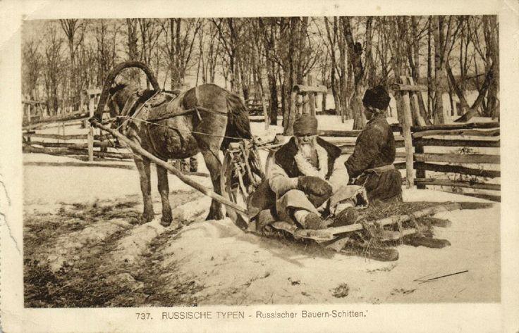 Russia Russian Types Russian Peasants Slide Sledge 1915 | eBay