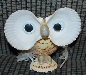 Seashelll Owl........cute.  I remember driving down to Florida as a kid, with my family, from Detroit, Michigan, down I-75 (even before I-75 was complete), and once we drove into the state of Florida, it seemed every gas station, toll plaza had these shell animals/people.  So cute