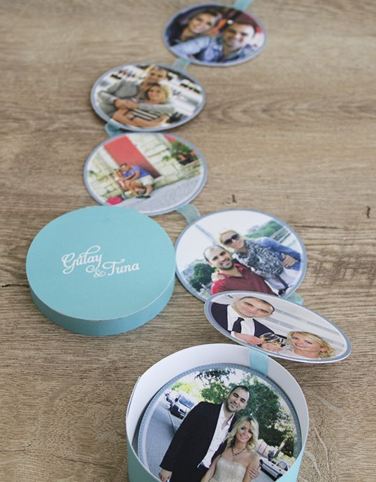 """""""Circles of Love"""" wedding invitation with photographs in a mint green cylindrical box"""