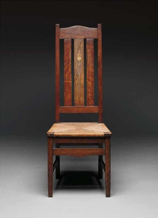 Merveilleux Stickley Side Chair, Designed C. 1903, Oak, Pewter, Copper, Various Woods,  Rush (replaced), 47 1/4 X 18 1/2 X 16 1/2 In., The Estate Of Dr. Edgar G.  McKee.