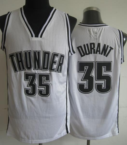 Oklahoma City Thunder Jersey 35 Kevin Durant White Revolution 30 NBA Jerseys Black Number