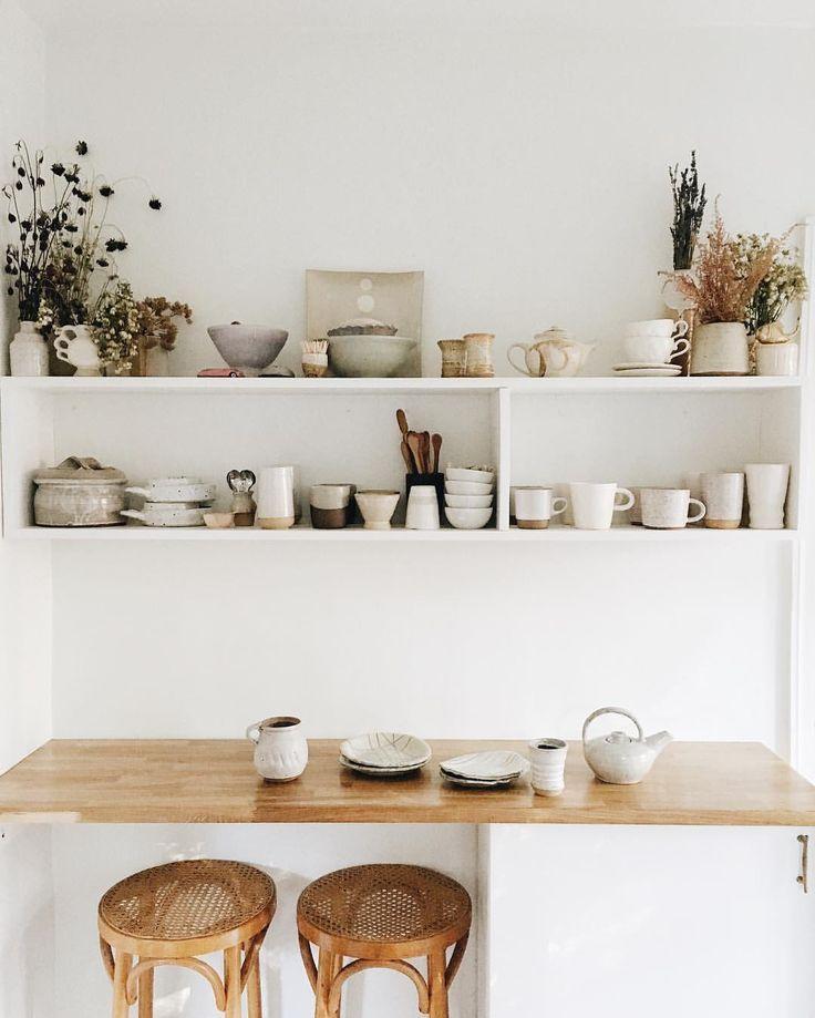 Intérieur, déco : cuisine, espace repas, blanc, naturel, ayla gurganus