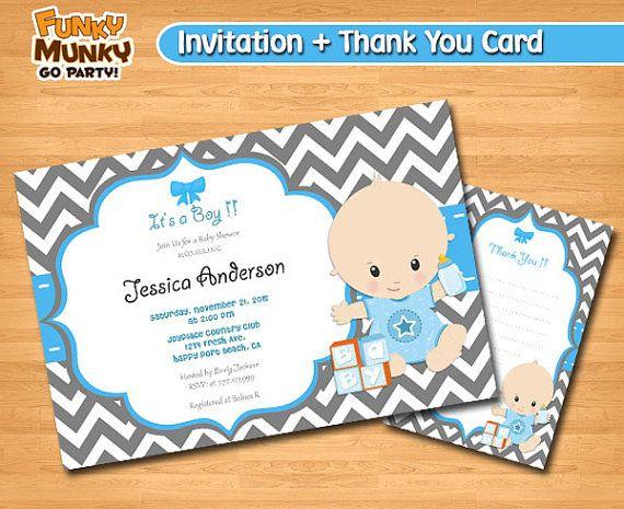 Baby Shower Invitation Baby Shower for boy by funkymunkygoparty