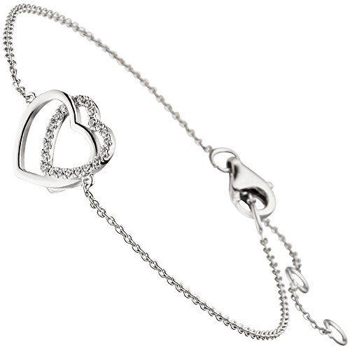 "Dreambase Damen-Armband ""Herzen"" rhodiniert Silber 21 Zir... https://www.amazon.de/dp/B077Y6V73J/?m=A37R2BYHN7XPNV"