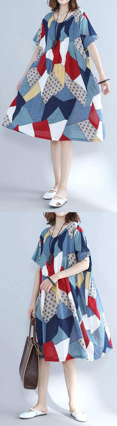 fashion-blue-patchwork-Midi-cotton-dresses-plus-size-holiday-dresses-Elegant-o-neck-short-sleeve-midi-dress3