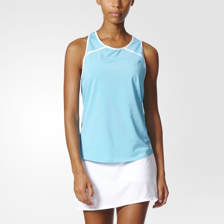 Overhead slams and deep strokes are encouraged in this women's tennis tank top. The tank features a racer-back cut, built-in UV protection and a feminine curved hem.