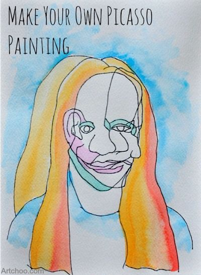 Do as listed or as blind contour drawing. Picasso Cubism painting project for kids- so cool.