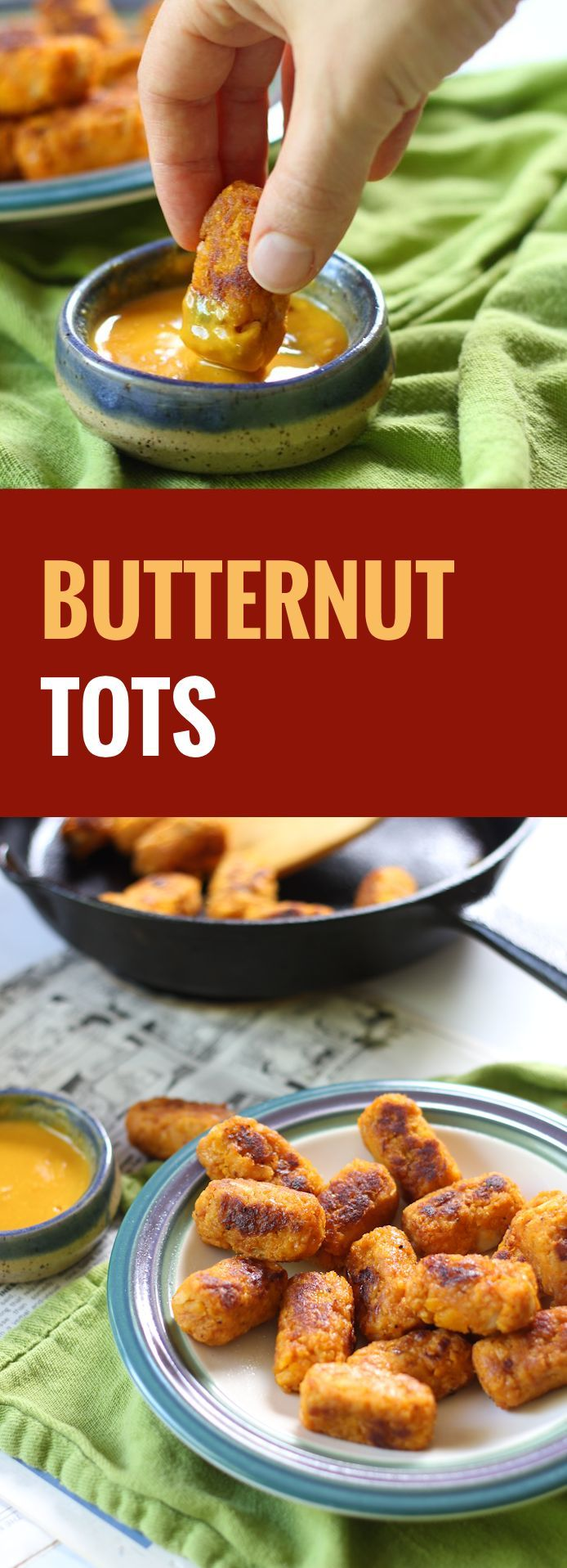 These lightly seasoned pan-fried buttenut tots will satisfy all your tot cravings, with a bonus velvety sweeness you get only from fall butternut squash.