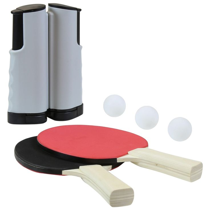 Portable table tennis set including a net, 2 x bats and 3 x balls. Great for people who don't have much space this instant table tennis set can be put up on any table.
