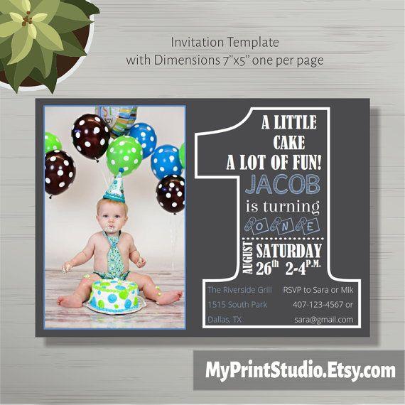 First Birthday Invitation For Boy Chalkboard Birthday Word