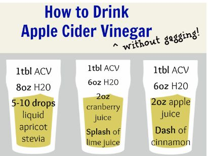 If you can't handle drinking some Apple Cider Vinegar, mix with apricot stevia, or cranberry juice and lime juice, or apple juice and a dash of cinnamon.