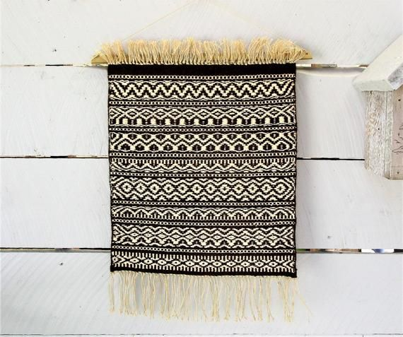 Rustic Room Decor, Handwoven Weft Faced Wall Hanging. Cabin wall art. Brown wool, creamy white silk noil weft, heavy linen warp. 16″ by 24″