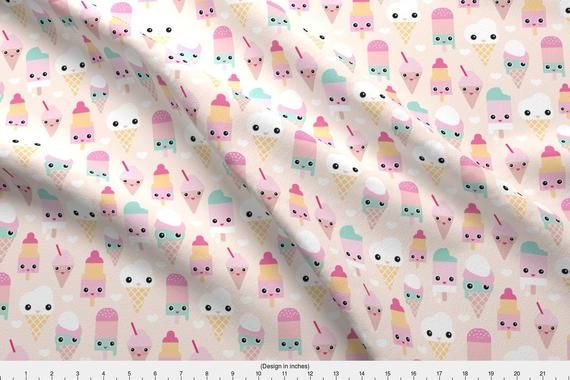Ice Cream Fabric – Süßes Sommer-Eis von LittleSmileMakers – Kawaii Food …   – Products
