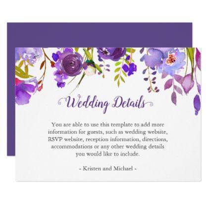Purple Violet Flowers Wedding Details Reception Card - wedding - invitation information template