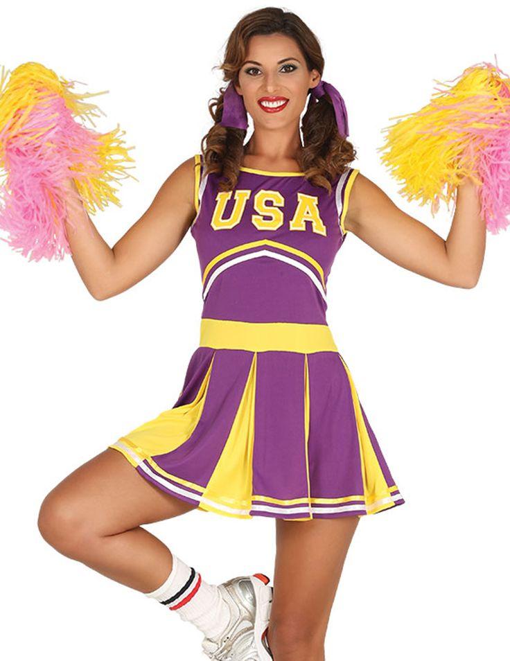 Disfraz Animadora Usa Morado Y Amarillo Mujer Pompom Girl Deguisement Pom Pom Girl Vetements Styles
