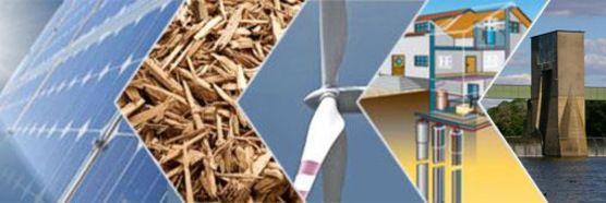 Verschiedene erneuerbare Energieträger jeweils in einem Ausschnitt in Pfeilform nebeneinander (Quelle: fotolia.de)